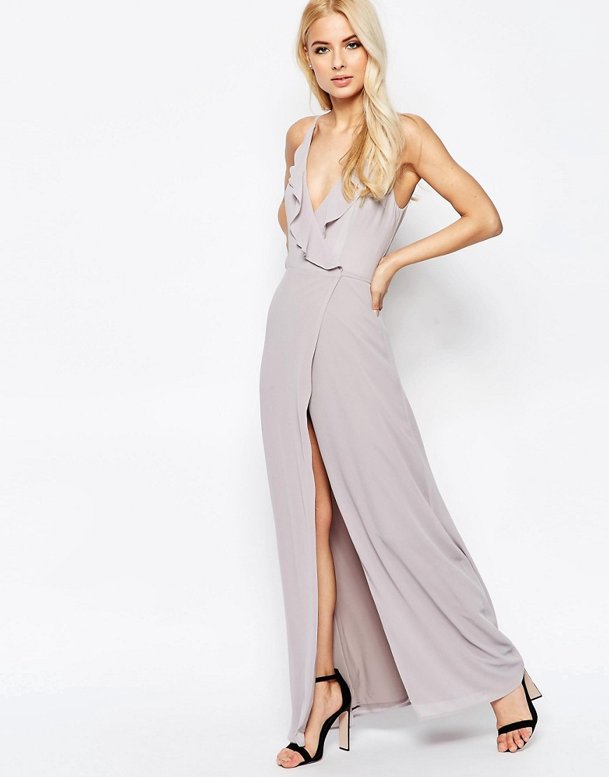 Jarlo Frill Wrap Front Maxi Dress - Silver