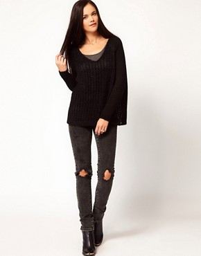 Image 4 ofRiver Island V Neck Wide Grid Stitch Jumper