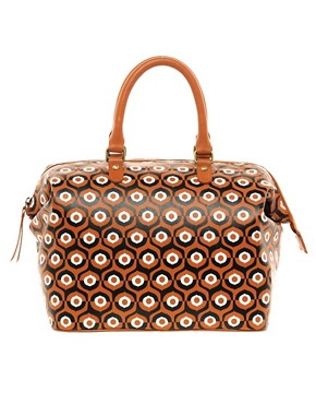 Image 1 ofASOS Leather Printed Bowler Bag