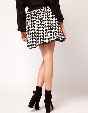 Image 2 ofASOS Full Skirt in Dogtooth Print
