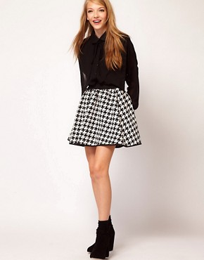 Image 1 ofASOS Full Skirt in Dogtooth Print