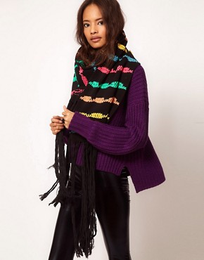 Image 1 of ASOS Ribbon Stripe Oversized Scarf