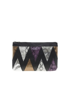 Image 1 ofASOS Clutch Bag With Zig Zag Snake Print