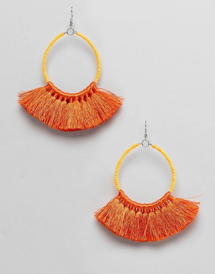 ASOS DESIGN - Boucles d'oreilles perle et pampille - Orange