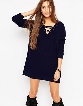 ASOS A Line Dress In Knit With Lace Up Detail