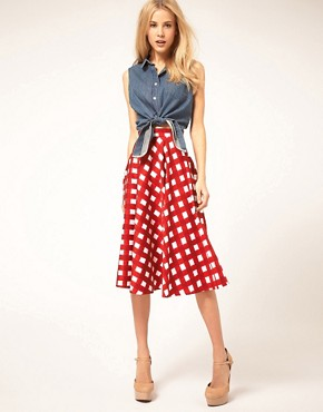 Image 1 ofASOS Check Full Midi Skirt