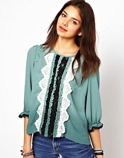 Chandelier Blouse With Lace Trim