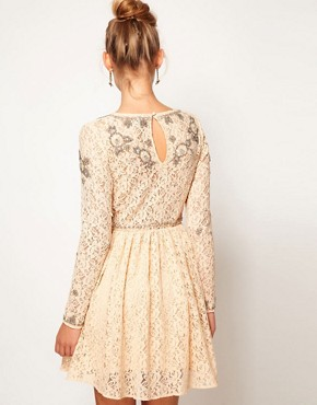 Image 2 ofASOS Lace Skater Dress With Crystal Embellishment