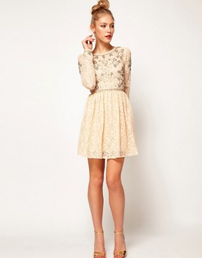 Image 4 ofASOS Lace Skater Dress With Crystal Embellishment