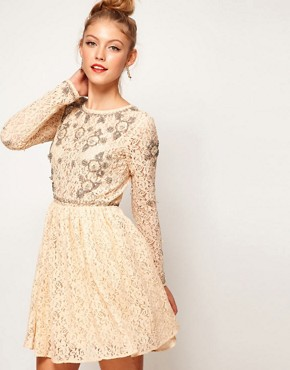 Image 1 ofASOS Lace Skater Dress With Crystal Embellishment
