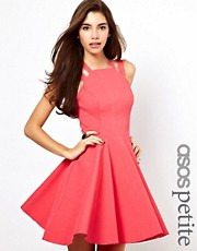 ASOS PETITE Exclusive Strappy Skater Dress With Gold Clasp Detail