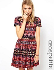 Vestido skater con estampado Habanera de ASOS PETITE