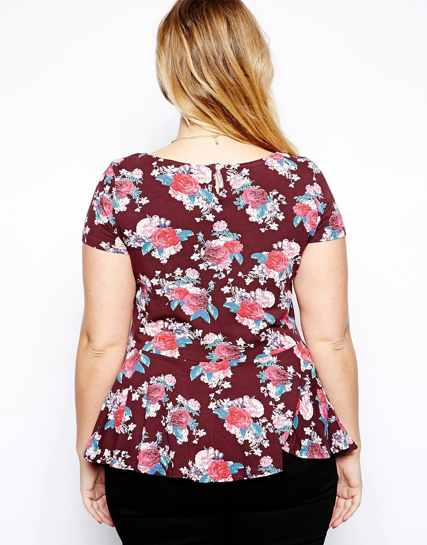 Image 2 of New Look Inspire Short Sleeve Printed Peplum Top