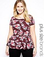 Image 1 of New Look Inspire Short Sleeve Printed Peplum Top