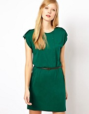 Sessun Jersey Dress with Leather Belt and Button Detail