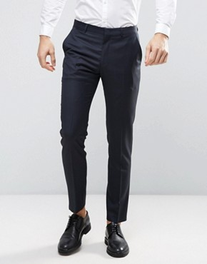 ASOS WEDDING Slim Suit Trouser in Navy 100% Wool