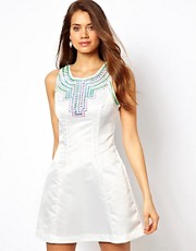 Lipsy Fit and Flare Dress with Sequin Embellishment