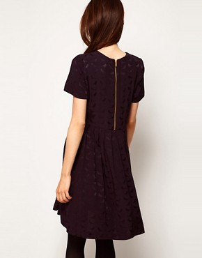 Image 2 ofASOS Smock Dress In Bird Jacquard