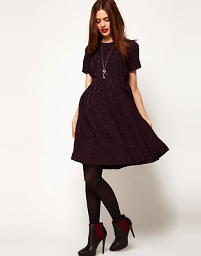 Image 4 ofASOS Smock Dress In Bird Jacquard