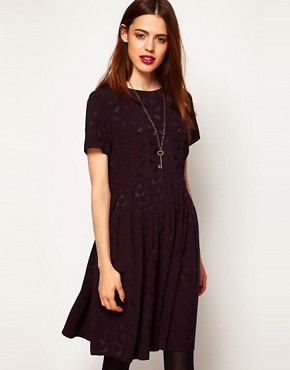 Image 1 ofASOS Smock Dress In Bird Jacquard