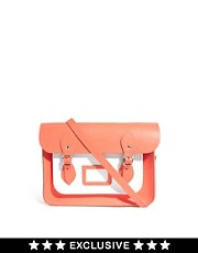 "Cambridge Satchel Company Exclusive To ASOS Colourblock Coral 13"" Satchel"