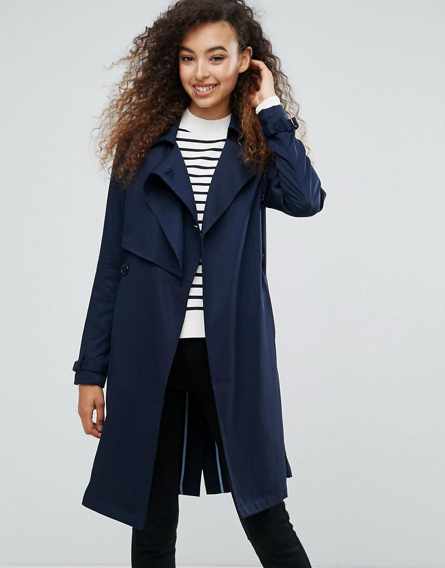 mbyM Faux Suede Belted Coat - Night sky