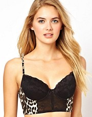 ASOS Boudoir Leopard and Lace Mix Longline Padded Bralet