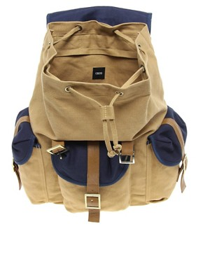 Image 2 of ASOS Backpack with Contrast Military Panels