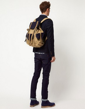Image 3 of ASOS Backpack with Contrast Military Panels