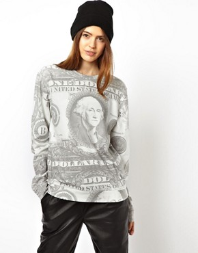 Image 1 of ASOS Sweatshirt with Dollar Print