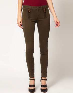 Image 1 ofRiver Island Erin Coloured Skinny Jean with Zip Detail
