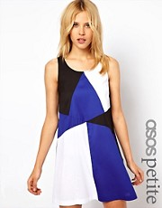ASOS PETITE Exclusive Swing Dress in Colour Block