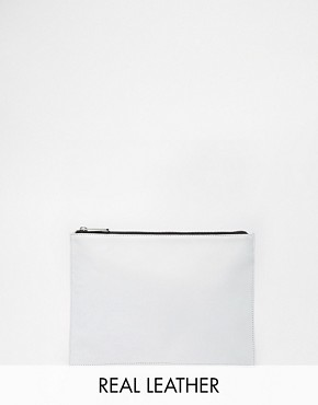 ASOS Soft Leather Zip Top Clutch Bag