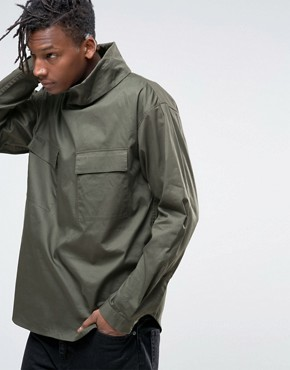 ASOS Military Overhead Shirt With Funnel Neck In Khaki