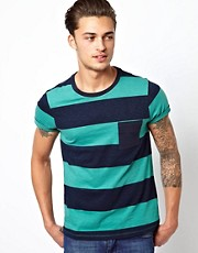 ASOS Stripe T-Shirt With Contrast Pocket And Slubby Jersey