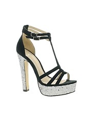 Carvela Lara Heeled Sandal With Glitter Platform