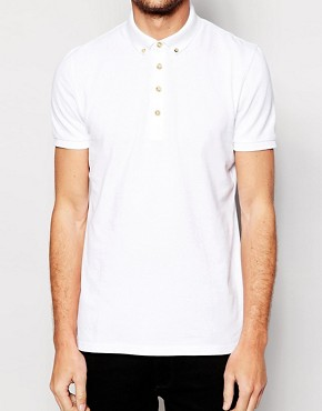 Image 3 of ASOS Mini Button Down Collar Pique Polo
