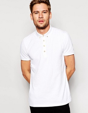 Image 1 ofASOS Mini Button Down Collar Pique Polo