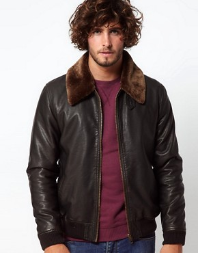 Image 1 of ASOS Faux Leather Jacket With Removable Borg Collar