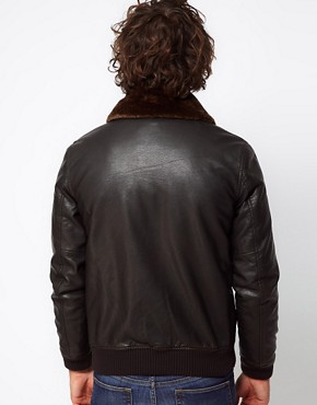 Image 2 of ASOS Faux Leather Jacket With Removable Borg Collar