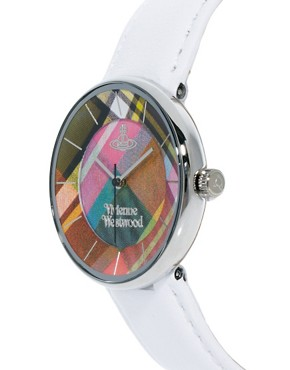 Image 4 ofVivienne Westwood White Leather Strap Watch With Tartan Face