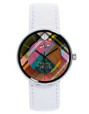 Vivienne Westwood White Leather Strap Watch With Tartan Face