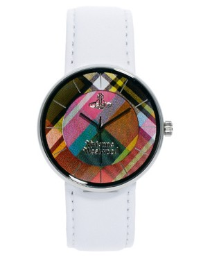 Image 1 ofVivienne Westwood White Leather Strap Watch With Tartan Face