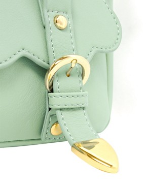 Image 4 of ASOS Scallop Double Buckle Across Body Bag