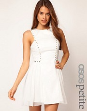 ASOS PETITE Exclusive Skater Dress With Stud Detail