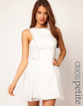 Image 1 ofASOS PETITE Exclusive Skater Dress With Stud Detail
