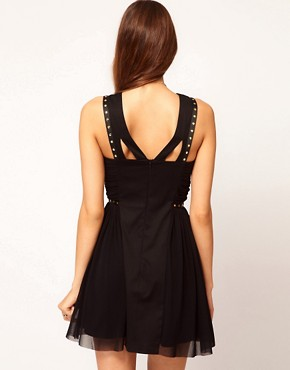 Image 2 ofASOS PETITE Exclusive Skater Dress With Stud Detail