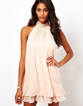 Elise Ryan Embellished High Neck Swing Dress  :  chiffon high neck dress