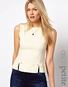 Image 1 ofASOS PETITE Top With Peplum Bow