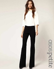 ASOS PETITE Kick Flare Trousers With Button Detail